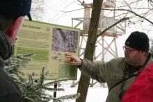 Infotafel am historischen Lehrpfad in Jachymov
